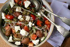 Brown Lentil Greek Salad