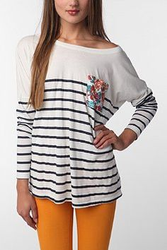 Truly Madly Deeply Contrast Pocket Long Sleeve Tee  $34.00  +MORE colors
