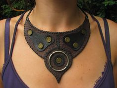 leather and metal necklace by ladyhawk11 on DeviantArt