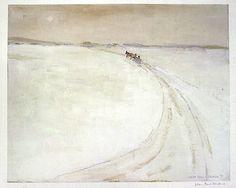 Artiste : Jean-Paul Lemieux  Nom de l'oeuvre : La traversée de la rivière Péribonka    Grandeure : 46 cm x 56 cm  Année : 1981  Médium : Photolithographie