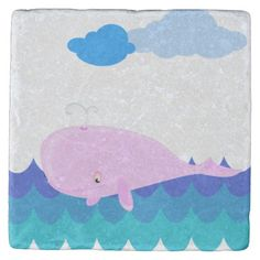 Now how cute is this pink whale? Ideal for kids, this marble coaster features a smiling whale swimming in the ocean on a beautiful day. Marble Coasters, Stone Coasters, Drink Coasters, Nautical Flip Flops, Beautiful Day, Whale, Duvet, Swimming, Kids Rugs
