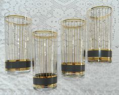 Found 2 Vintage Culver Devon Black Gold Glass Highball Tumblers 5 1/2""