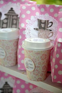 Cup favors at a vintage high tea birthday party! See more party planning ideas at CatchMyParty.com!
