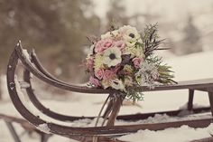 White winter bouquet with pink accents