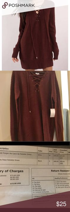 "Tobi lace front sweater dress Wine/maroon/burgundy sweater dress! Oversized. It is SO STINKING CUTE!! And so soft!! I am just too short for it!😭 it comes down to my knees and engulfs me (I'm 5' 1/2"")  tags attached. I didn't get a chance to exchange it within the 20 day window. Tobi Dresses"