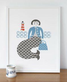 Mermaid screenprint in blue and grey by roddyandginger on Etsy, $50.00