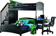 Shop for a Cottage Colors Black Twin Full Step Loft w Desk at Rooms To Go Kids. Find that will look great in your home and complement the rest of your furniture. Bunk Beds For Boys Room, Bunk Bed With Desk, Loft Beds, Bedroom Furniture Stores, Bed Furniture, Furniture Ideas, Girls Bedroom Sets, Bedroom Ideas, Bed Ideas