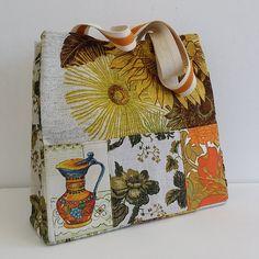 ZStitch, Vintage inspired handmade handbags in Woodstock Retro Fabric, Handmade Handbags, Fabric Bags, Woodstock, Vintage Inspired, Burlap, Reusable Tote Bags, Range, Inspiration