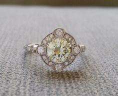 "Estate Halo Lemon Yellow Canary Moissanite Diamond Antique Engagement Ring Victorian Art Deco Mint Edwardian 14K White Gold ""The Charlotte"""