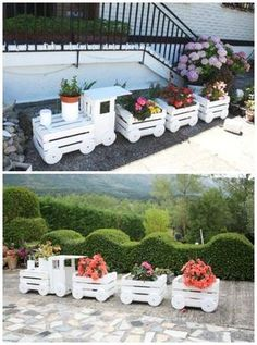 DIY Train Planters from Wood Crate Picture Instructions #Gardening, #Art, #Woodworking, #Recycle
