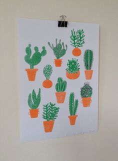 Cactus Family Risograph print by CarolineDowsett on Etsy, £10.00