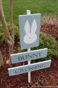 Bunny Crossing Sign from old Fence Pickets