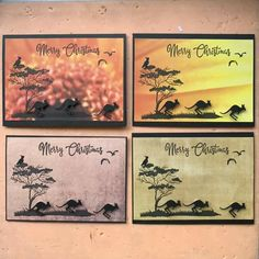 Australian Christmas Cards, Aussie Christmas, Christmas Things, Christmas Crafts, Christmas Australia, Crazy Animals, Kangaroos, Paper Roses, Watercolor Cards