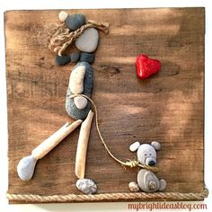 Pebble Art - A Girl and her Dog - My Bright Ideas Stone Pictures Pebble Art, Stone Art, Pebble Stone, Sea Glass Crafts, Sea Glass Art, Stone Crafts, Rock Crafts, Beach Rocks Crafts, Painted Rock Animals