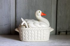 vintage soup tureen // duck or goose covered dish by umbrellafant, $18.00