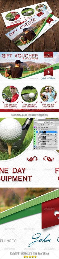 Golf Gift Voucher Template 02  #template #cards #print #invites