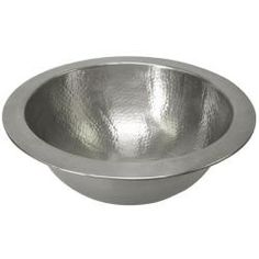 "Small Round Copper Pewter Finish Lavatory Sink Undermount  $132  12"" diameter, 5"" deep.  Interesting...and small enough to fit well.  :)  One reviewer says the drain is difficult to find."