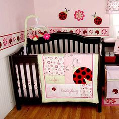 """Li'l Kids by Kidsline - """"L"""" is for Ladybug 3pc Crib Bedding Set - Value Bundle"""