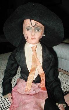 "RARE Antique German Boudoir Smoker Doll Playes A Melody 23"" | eBay"
