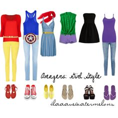 Avengers inspired outfits...I've identified Captain America, Iron Man, the Hulk, Thor, Black Widow, who's in the jeans at the end??