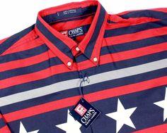 #CHAPS RALPH LAUREN L #American #Flag 4th of July #Patriotic short sleeve #shirt RARE #Chaps #ButtonFront