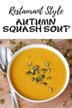 Autumn squash soup is one of my favorite soups at Panera. This is a copycat Panera autumn squash soup recipe and while it is not exact it is delicious, creamy & full of fall flavors. Panera autumn squash soup recipe will be a fall favorite each year. Copycat Recipes, Crockpot Recipes, Gourmet Recipes, Soup Recipes, Cooking Recipes, Healthy Recipes, Pumpkin Recipes, Healthy Foods, Chicken Recipes