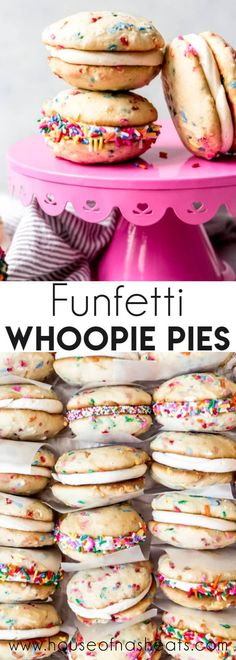 Personalized Graduation Gifts - Ideas To Pick Low Cost Graduation Offers Loaded With Sprinkles And Filled With Creamy, Rich Vanilla Frosting, These Funfetti Whoopie Pies Are A Tasty Handheld Dessert That Is A Hybrid Cookie-Cupcake Creation Köstliche Desserts, Best Dessert Recipes, Delicious Desserts, Yummy Food, Whoopie Pies, Yummy Cupcakes, Cupcake Cookies, Baking Recipes, Cookie Recipes