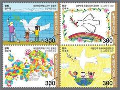 기념우표.평화의상징 비둘기를 사용. 거기에다가 순수한 느낌의 그림들을 사용하여 아이와 평호로움의 느낌이 같이 혼합되어 마치 평화를 지켜야만할것같은 느낌이든다