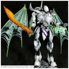 Eldar Wraithknight - Giant molten sword - Stepping Between Games White Highlights, Color Splash, Sword, Concept Art, Folk, Miniature, Wings, Army, Colours