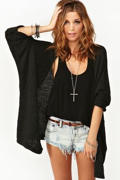 Nasty Gal Caroline Knit Cardi Charcoal in Gray (charcoal)