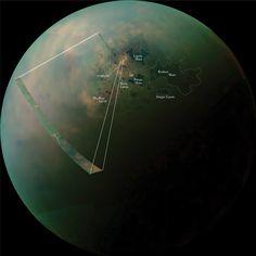 Cassini maakt prachtige foto van de grote meren op Titan - Scientias.nl