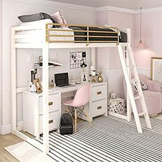 Little Seeds Monarch Hill Haven White and Gold Twin Metal Loft Bed - Loft Beds For Teens, Adult Loft Bed, Bunk Beds For Girls Room, Bunk Bed With Desk, Teen Girl Bedrooms, Bed Rooms, Girl Rooms, Kid Beds, Teen Loft Beds