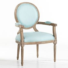 Obsessed! W8090Louis XVI End Chair - Aqua Chairs $389