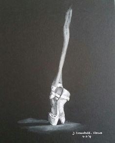 Pastelpotlood wit op zwart papier 20x30 cm