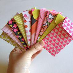 Set of 10 // Gift Card Holders //  Mini Envelopes // Retro Mini Envelopes // Mini Neon Envelopes // Gift Card Envelope // Tiny Envelopes (www.partyhappier.etsy.com)