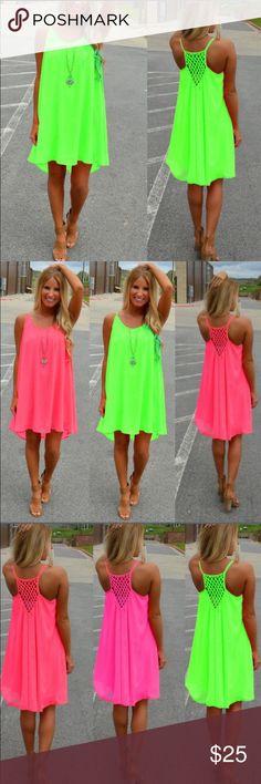 PRICE DROP Neon Green Summer Dress The perfect casual summer/beach dress Boutique Dresses Mini