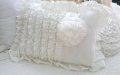 Dreamy White Ruffled and Rosette Pillow