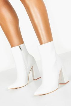 Women Heels Aesthetic Gifthershoes Closed Shoes For Ladies Pink Pumps – chestnuttal White Heel Boots, White Heels Shoes, Ankle Heel Boots, Flat Shoes, White Heels Outfit, White Gogo Boots, White High Heel Boots, Casual Heels Outfit, Designer Shoes