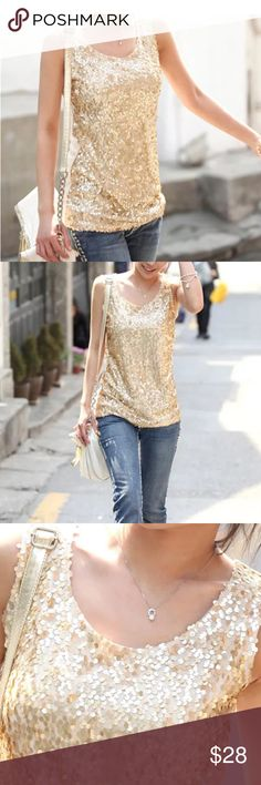 Fabulous Gold Sequin Tank, Perfect for Holidays! Gorgeous gold sequin tank with wonderful, yet subtle sparkle.  Delicate, sheer fabric back, so wear a camisole underneath!  Wear it with a skirt and cardigan or dress it down with jeans and boots.  Perfect for the holidays! Tops Tank Tops