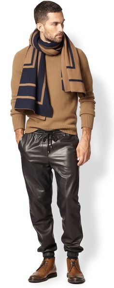 Cashmere Sweater, Black Leather drawstring pants, and Graphic Scarf, Louis Vuitton. Mens Fall Winter Fashion.