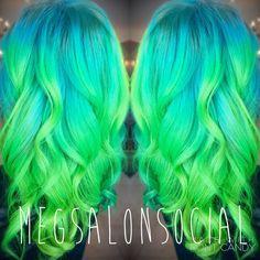 Neon green and blue hair ombré color melt  Pensacola florida  MegSalonSocial
