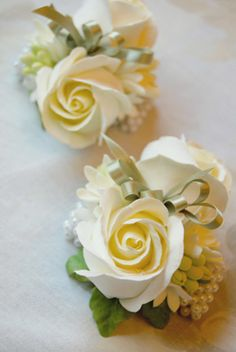 Wedding Wrist Corsages Faux Clay Flowers