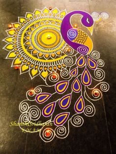 18 Gorgeous Indian Rangoli designs for Diwali - The Champa T.- 18 Gorgeous Indian Rangoli designs for Diwali – The Champa Tree 18 Gorgeous Indian Rangoli designs for Diwali: thechampatree. Rangoli Designs Peacock, Indian Rangoli Designs, Rangoli Designs Latest, Rangoli Patterns, Rangoli Border Designs, Rangoli Ideas, Colorful Rangoli Designs, Rangoli Photos, Kolam Rangoli