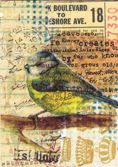 An original collaged mixed media ACEO, size 2 1/2 x 3 1/2. Made with papers, image, ink, rubber stamping, etc.    Shipped in a protective plastic sleeve.