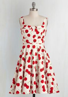 Pull Up a Cherry Dress in White. Strutting so stylishly past the cafe, you overhear onlookers rave about that 'rockabilly diva's cheerful cherry dress!' As you turn your gaze to thank these friendly strangers, you recognize the duo - what a coincidence!  #modcloth