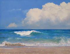 sold ~ Cloud, Sea and Shore - Original Fine Art for Sale - © Oriana Kacicek Coastal Art, Art Painting, Landscape Paintings, Ocean Painting, Beach Painting, Sea Painting, Clouds, Art, Ocean Art