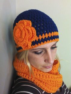 ladies/teen navy blue and orange beanie/hat by CowgirlBlingByShea, $22.00 Maybe in a different color.