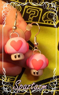 Heart mushroom earrings ready to ship by spaztazm on Etsy, $18.00 Polymer Clay Figures, Cute Polymer Clay, Polymer Clay Projects, Polymer Clay Charms, Polymer Clay Creations, Diy Clay, Polymer Clay Jewelry, Clay Crafts, Clay Earrings