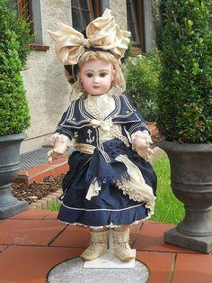 French Antique Blue Silk Navy Dress for Bebe with Velvet Bonnet