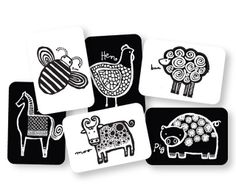 Wee Gallery Art Cards -  Farm Animals(black and white so newborns can see them)  Family Nation